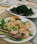 西芹荷兰豆干贝虾仁(混炒)