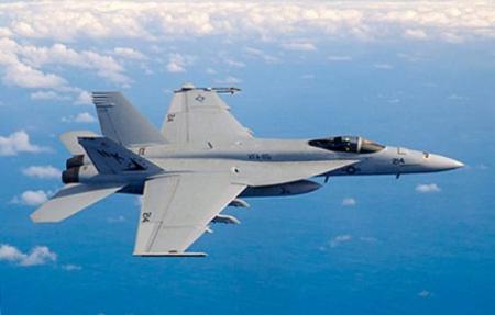 美军F/A-18型战斗机空袭伊拉克北部