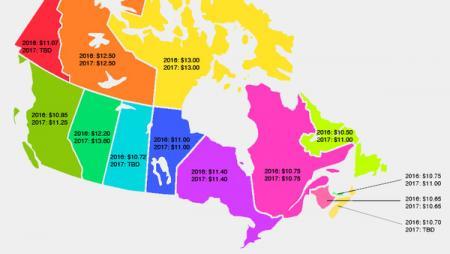 2017年加拿大各省最低时薪 Minimum Wage
